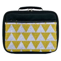 Triangle2 White Marble & Yellow Denim Lunch Bag by trendistuff
