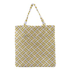 Woven2 White Marble & Yellow Denim (r) Grocery Tote Bag by trendistuff