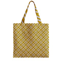 Woven2 White Marble & Yellow Denim Zipper Grocery Tote Bag by trendistuff