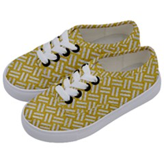 Woven2 White Marble & Yellow Denim Kids  Classic Low Top Sneakers by trendistuff