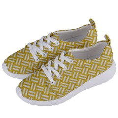 Woven2 White Marble & Yellow Denim Women s Lightweight Sports Shoes by trendistuff