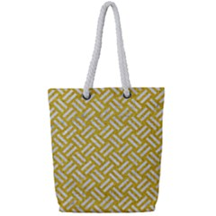 Woven2 White Marble & Yellow Denim Full Print Rope Handle Tote (small) by trendistuff