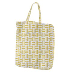 Woven1 White Marble & Yellow Denim (r) Giant Grocery Zipper Tote by trendistuff