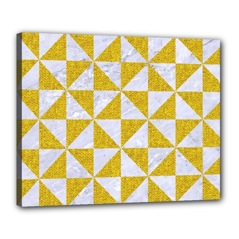 Triangle1 White Marble & Yellow Denim Canvas 20  X 16  by trendistuff