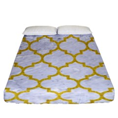 Tile1 White Marble & Yellow Denim (r) Fitted Sheet (king Size) by trendistuff