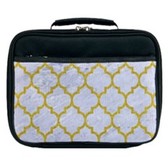 Tile1 White Marble & Yellow Denim (r) Lunch Bag
