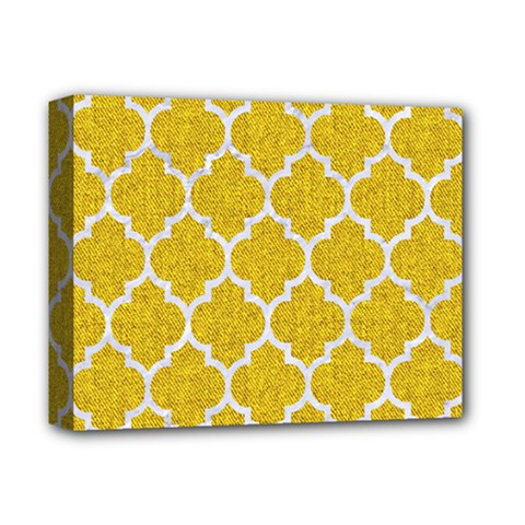 Tile1 White Marble & Yellow Denim Deluxe Canvas 14  X 11  by trendistuff