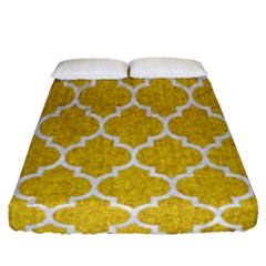Tile1 White Marble & Yellow Denim Fitted Sheet (queen Size) by trendistuff