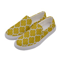 Tile1 White Marble & Yellow Denim Women s Canvas Slip Ons by trendistuff