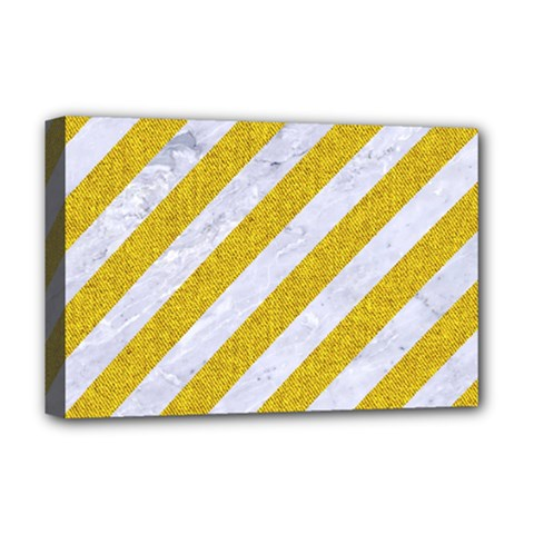 Stripes3 White Marble & Yellow Denim (r) Deluxe Canvas 18  X 12   by trendistuff