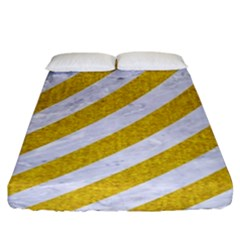 Stripes3 White Marble & Yellow Denim (r) Fitted Sheet (king Size)