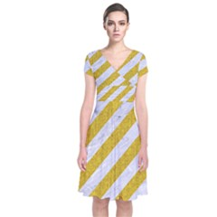 Stripes3 White Marble & Yellow Denim (r) Short Sleeve Front Wrap Dress
