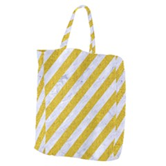 Stripes3 White Marble & Yellow Denim (r) Giant Grocery Zipper Tote by trendistuff