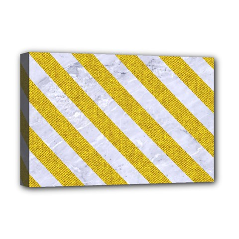 Stripes3 White Marble & Yellow Denim Deluxe Canvas 18  X 12   by trendistuff