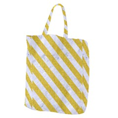 Stripes3 White Marble & Yellow Denim Giant Grocery Zipper Tote by trendistuff