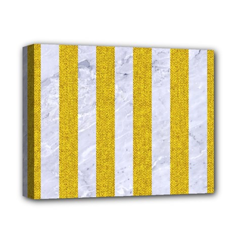 Stripes1 White Marble & Yellow Denim Deluxe Canvas 14  X 11  by trendistuff