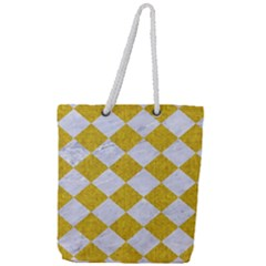 Square2 White Marble & Yellow Denim Full Print Rope Handle Tote (large) by trendistuff