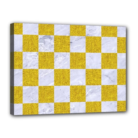 Square1 White Marble & Yellow Denim Canvas 16  X 12  by trendistuff