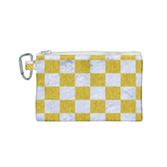 Square1 White Marble & Yellow Denim Canvas Cosmetic Bag (small) by trendistuff