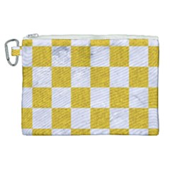 Square1 White Marble & Yellow Denim Canvas Cosmetic Bag (xl) by trendistuff