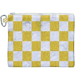 Square1 White Marble & Yellow Denim Canvas Cosmetic Bag (xxxl) by trendistuff