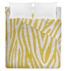 Skin4 White Marble & Yellow Denim (r)skin4 White Marble & Yellow Denim (r) Duvet Cover Double Side (queen Size) by trendistuff