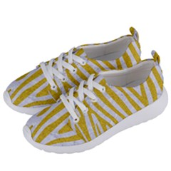Skin4 White Marble & Yellow Denim Women s Lightweight Sports Shoes by trendistuff
