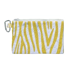 Skin4 White Marble & Yellow Denim Canvas Cosmetic Bag (medium) by trendistuff