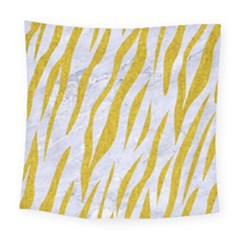 Skin3 White Marble & Yellow Denim (r) Square Tapestry (large) by trendistuff