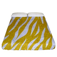 Skin3 White Marble & Yellow Denim Fitted Sheet (california King Size) by trendistuff