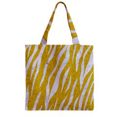 Skin3 White Marble & Yellow Denim Zipper Grocery Tote Bag by trendistuff