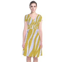 Skin3 White Marble & Yellow Denim Short Sleeve Front Wrap Dress