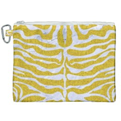 Skin2 White Marble & Yellow Denim Canvas Cosmetic Bag (xxl) by trendistuff