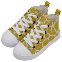Skin1 White Marble & Yellow Denim (r) Kid s Mid Top Canvas Sneakers by trendistuff