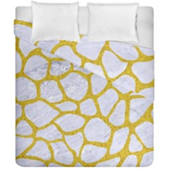Skin1 White Marble & Yellow Denim Duvet Cover Double Side (california King Size) by trendistuff