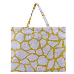 Skin1 White Marble & Yellow Denim Zipper Large Tote Bag by trendistuff