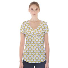 Scales3 White Marble & Yellow Denim (r) Short Sleeve Front Detail Top by trendistuff