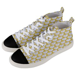 Scales3 White Marble & Yellow Denim (r) Men s Mid Top Canvas Sneakers by trendistuff