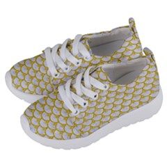 Scales3 White Marble & Yellow Denim (r) Kids  Lightweight Sports Shoes by trendistuff