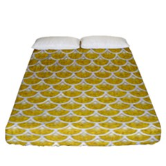 Scales3 White Marble & Yellow Denim Fitted Sheet (california King Size) by trendistuff