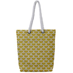Scales3 White Marble & Yellow Denim Full Print Rope Handle Tote (small) by trendistuff