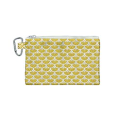 Scales3 White Marble & Yellow Denim Canvas Cosmetic Bag (small) by trendistuff