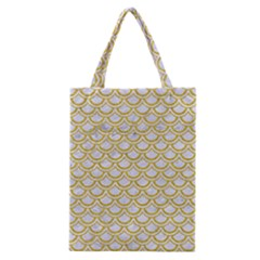Scales2 White Marble & Yellow Denim (r) Classic Tote Bag by trendistuff