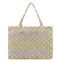 Scales2 White Marble & Yellow Denim (r) Medium Tote Bag by trendistuff