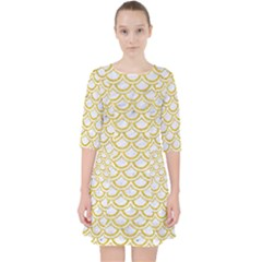 Scales2 White Marble & Yellow Denim (r) Pocket Dress by trendistuff