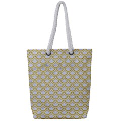 Scales2 White Marble & Yellow Denim (r) Full Print Rope Handle Tote (small) by trendistuff