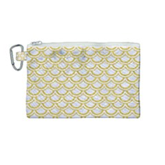 Scales2 White Marble & Yellow Denim (r) Canvas Cosmetic Bag (medium) by trendistuff