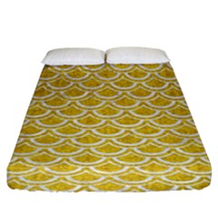 Scales2 White Marble & Yellow Denim Fitted Sheet (king Size)