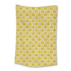 Scales2 White Marble & Yellow Denim Small Tapestry by trendistuff