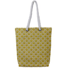 Scales2 White Marble & Yellow Denim Full Print Rope Handle Tote (small) by trendistuff